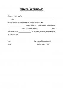 medical certification form medical certificate template