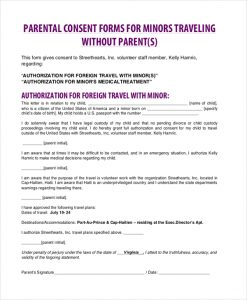 medical consent form for grandparents child consent traveling without parent