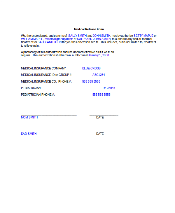 medical consent form for grandparents