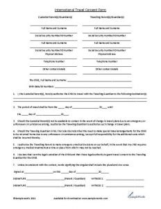 medical consent form for grandparents travel consent form