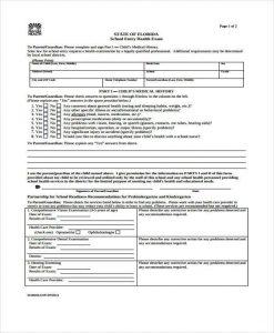 medical form templates child school medical form