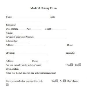 medical form templates medical history form