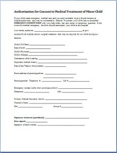 medical release form for child child consent