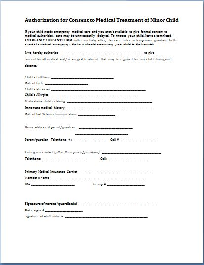 medical release form for child