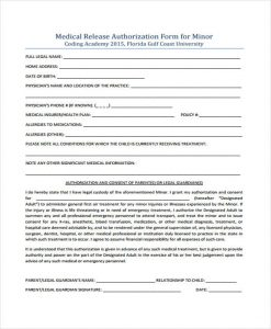 medical release form for child minor authorisation medical release form