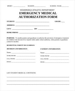 medical release form for grandparents emergency medical authorization form