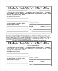 medical release form pdf minor child medical release form