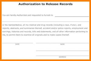medical release of information form template authorization to release medical information