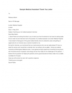 medical school interview thank you letter sample medical assistant thank you letter