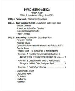 meeting agenda example board meeting agenda