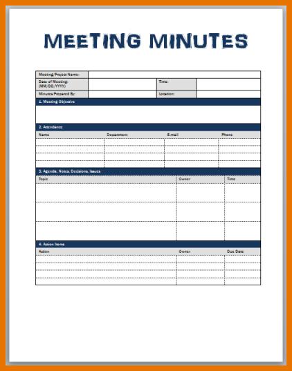 meeting minute template word