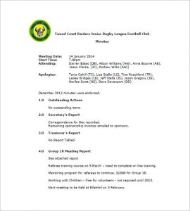 meeting minutes examples football club minutes meeting minutes template