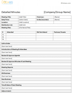 meeting minutes examples meeting minutes template in a descriptive format