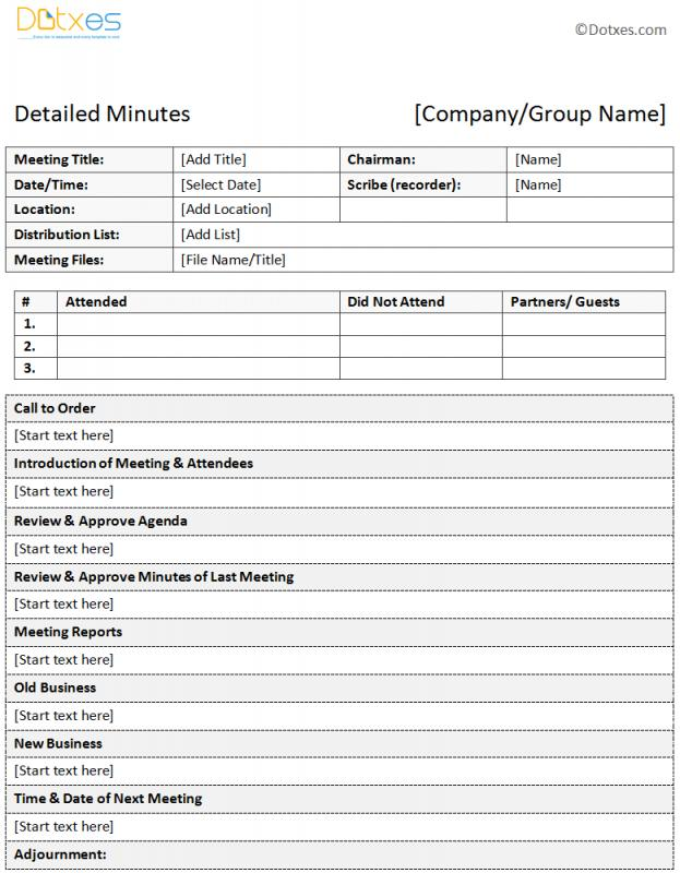 meeting minutes examples