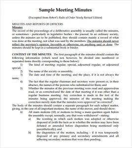 meeting notes sample sample meeting minutes template
