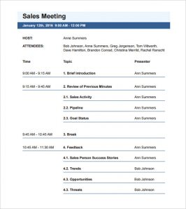 meeting schedule template business template nice sales meeting agenda template with blue letter head and chronological schedule