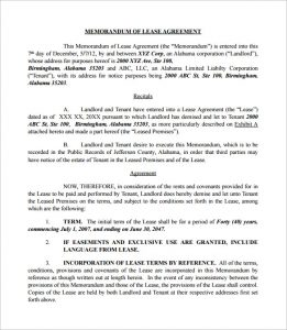 memorandum of understanding sample sample memorandum of lease agreement