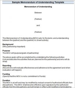memorandum of understanding template word sample mou template