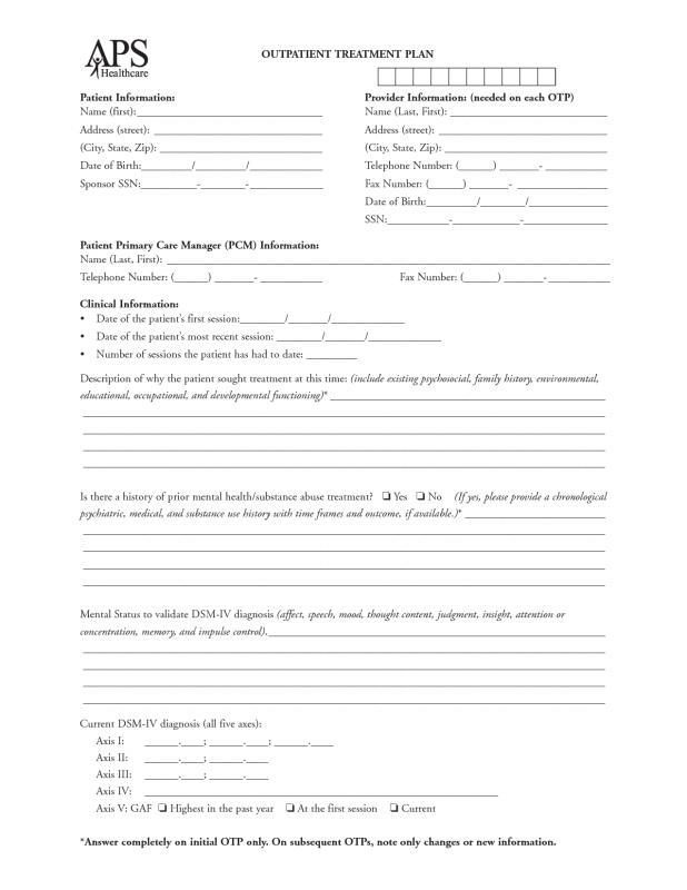 mental health treatment plan template download