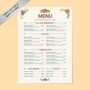 menu template free editable restaurant menu free template download