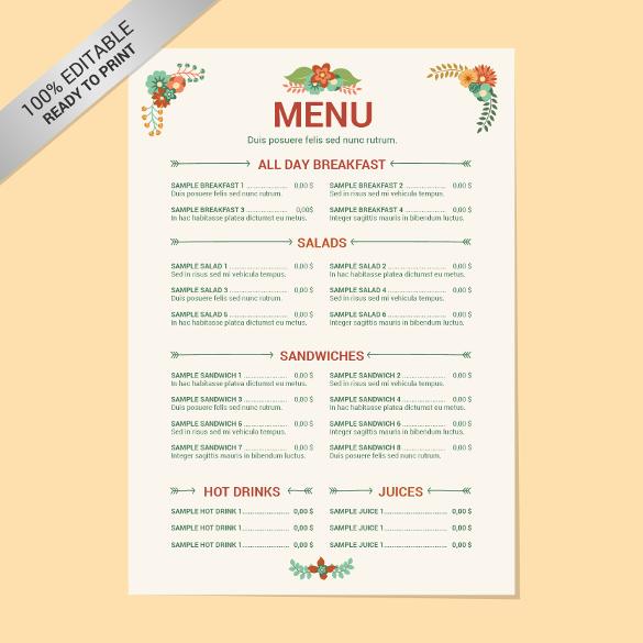 menu template free