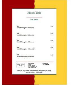menu template free free restaurant menu templates