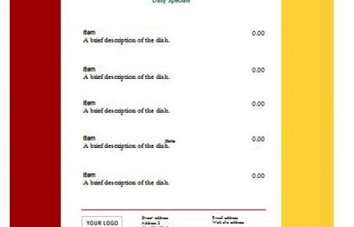 menu template word free restaurant menu templates
