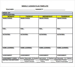 middle school lesson plan template middle school weekly lesson plan template
