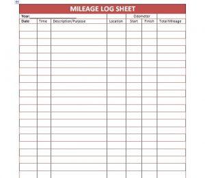 mileage log template mileage log