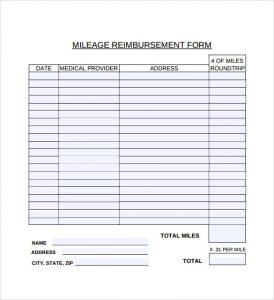 mileage reimbursement template mileage reimbursement form