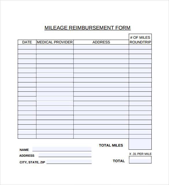 mileage reimbursement template