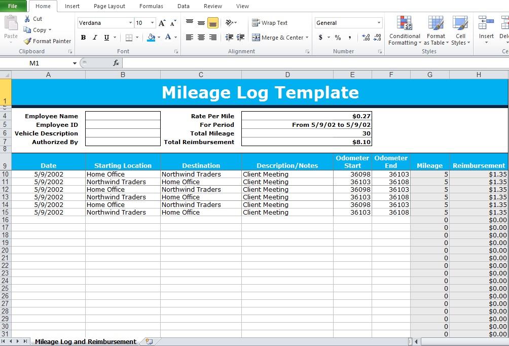 mileage tracker form