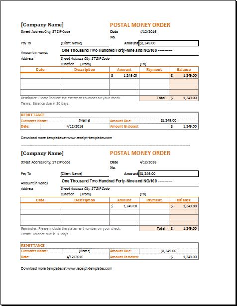 money order template