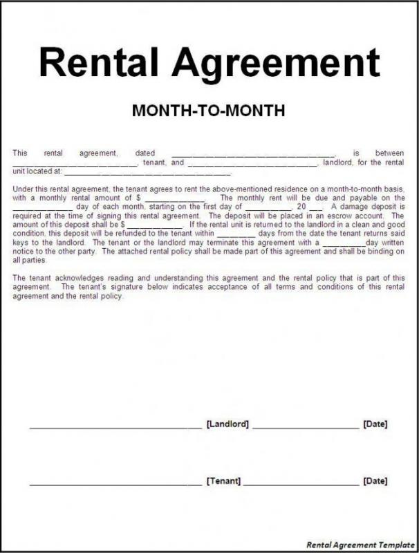 month to month lease agreement