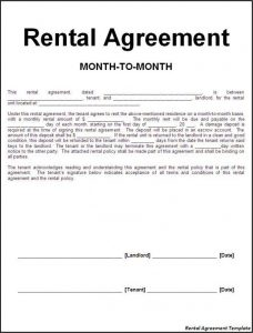 month to month rental agreement agreement templates efficient sample of month to month rental agreement template with blank information fill also landlord and tenant signatures
