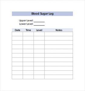 monthly blood sugar log sample blood sugar log