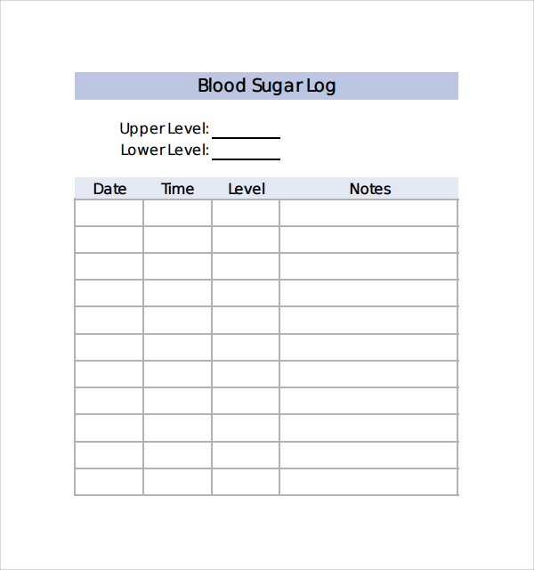 monthly blood sugar log