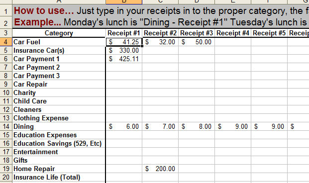 monthly expense spreadsheet