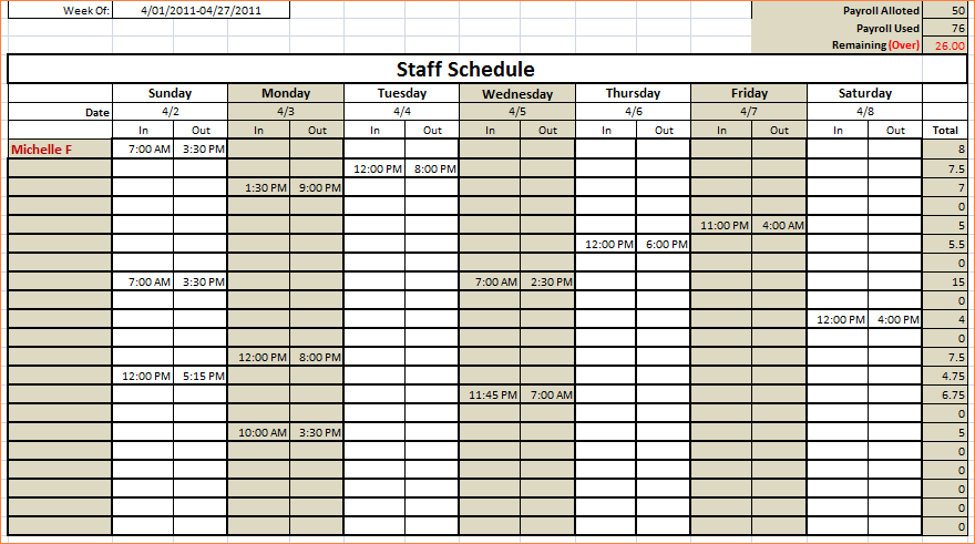 monthly schedule template excel