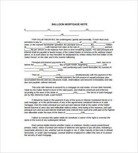 mortgage note sample balloon mortgage note free pdf templatess