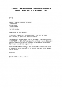 mortgage statement template advising of forefeiture of deposit on purchased vehicle unless paid in full sample letter