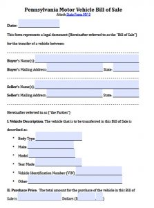 motor vehicle bill of sale pdf pennsylvania motor vehicle bill of sale