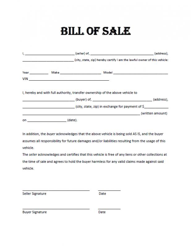 motorcycle bill of sale pdf