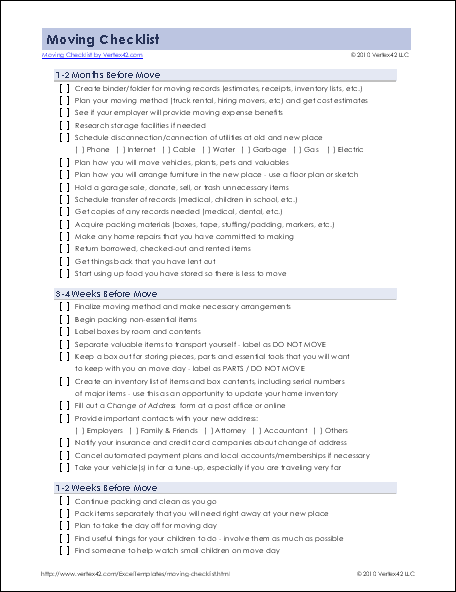 moving checklist template