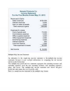 multiple step income statements income statement