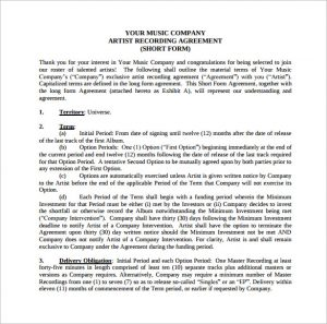 music contract template music recording contract template