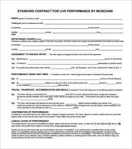music contract template standard music contract pdf format download