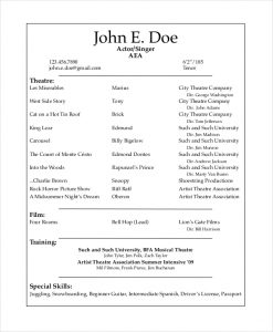 Musical Theatre Resume Template | Template Business