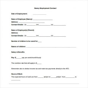 nanny contract template nanny confidentiality agreement
