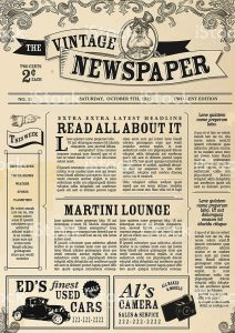 news article example vintage newspaper layout design template vector id